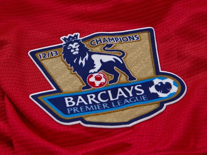 Premier League Champs badges 12/13 as worn by Manchester United during the campaign 13/14.