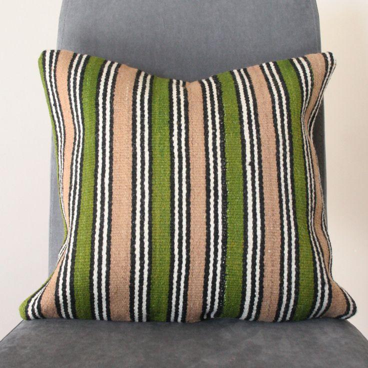 Green & Beige Vintage Kilim Cushion