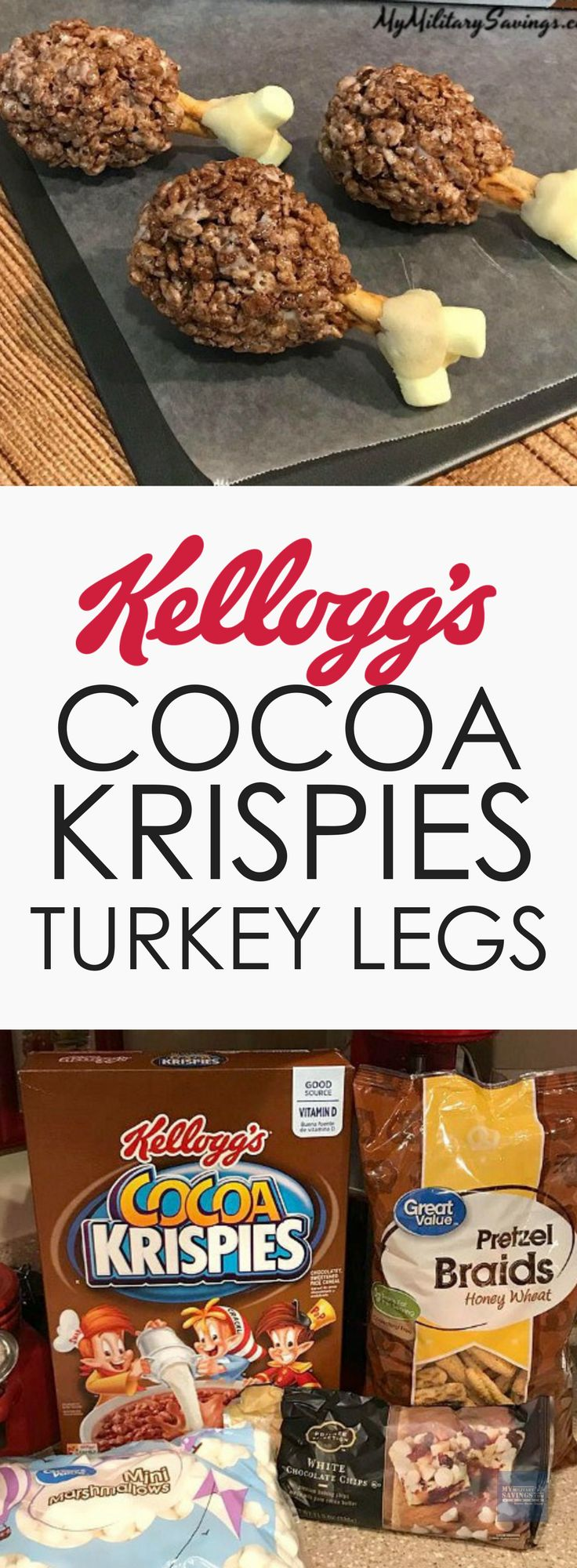 Kellogg's Cocoa Rice Krispies Treats Turkey Legs - perfect Thanksgiving dessert for the kids! Adults will love them too!