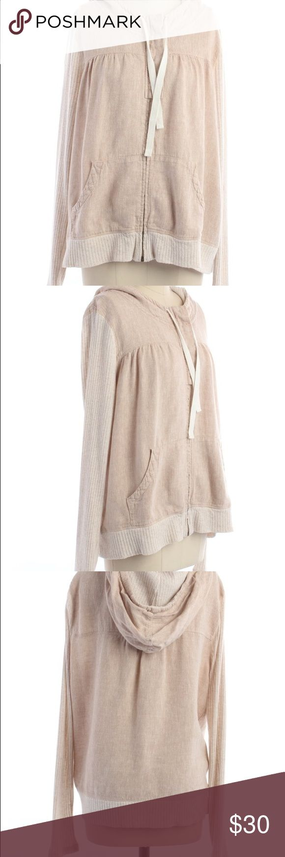 Anthropologie beige linen ribbed zip up jacket Beige linen and cotton ribbed zip up hoodie jacket. Size large. In excellent condition! Anthropologie Jackets & Coats