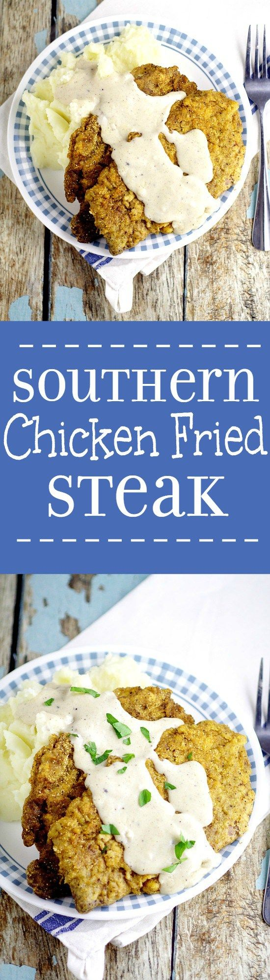 Classic Southern Chicken Fried Steak recipe with White Gravy is quick and easy to make and makes a perfect comfort food family dinner recipe.