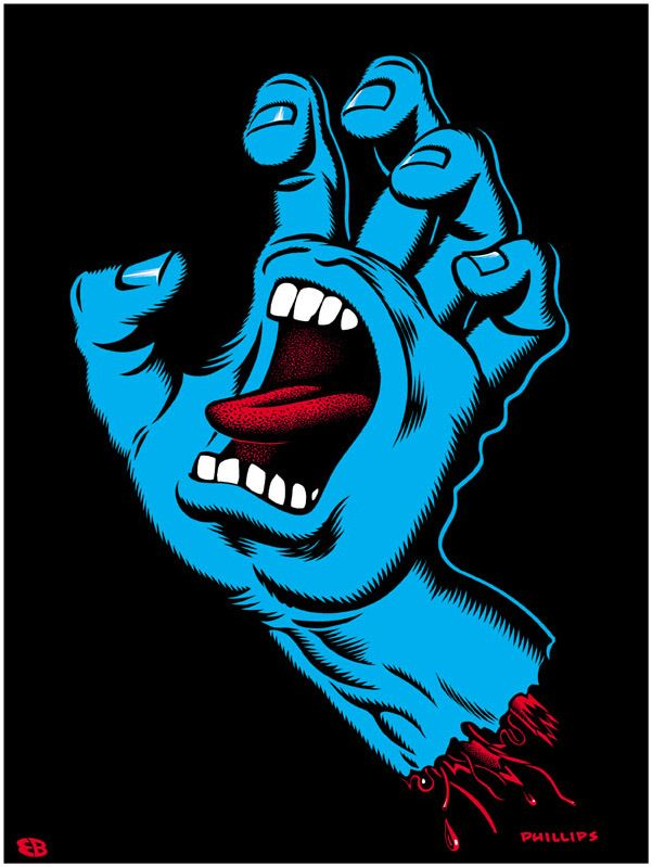 Screaming hand by Jim Phillips - Skateboarding icon