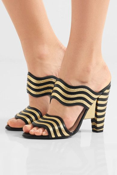 Heel measures approximately 110mm/ 4.5mm Gold and black leather Slip on Made in Italy