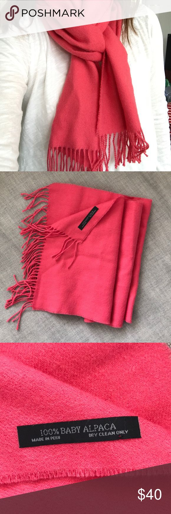 """Fucshia Baby Alpaca Scarf from Peru Beautiful and vibrant scarf made of Baby Alpaca. Bought in Peru. Never worn. Lovely fringe at both ends of scarf.  12"""" wide & 42"""" long. Accessories Scarves & Wraps"""