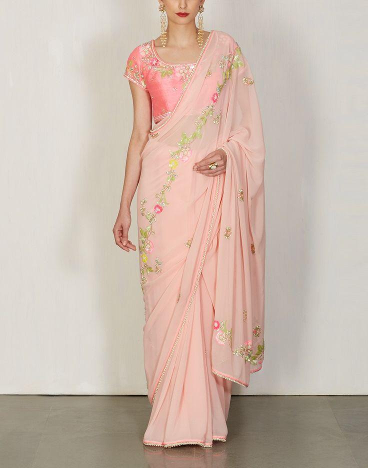 Blush Pink Embroidered Saree -Summer By Priyanka Gupta- img1
