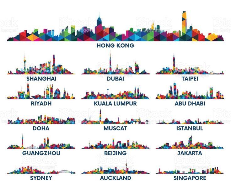 Skyline city Arabian Peninsula and Asia royalty-free stock vector art