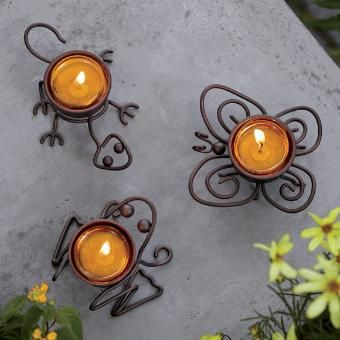 """Outdoor critters have never been so cute! Mini butterfly, lizard and frog are crafted from artfully twisted wire. For use with a tealight, sold separately. 3 1/2""""-5 1/2""""w."""