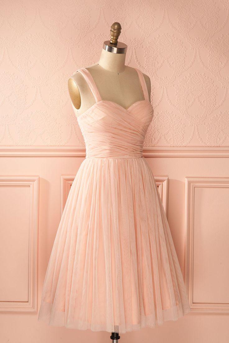 Robe trapèze tulle rose bonbon décolleté en coeur - Sweetheart neckline baby pink tulle a-line dress