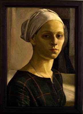 Study of a Female Head (1920-24) by Nella Marchesini (1901-1953), Italian - studied under Casorati. Her work after the Second World War is characterised by a more expressive handling of paint and heightened dramatic tension in her figure scenes, and again she returned to the theme of family (artinconnu)