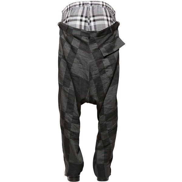 Vivienne Westwood Men Layered Plaid & Checkered Pants ($870) ❤ liked on Polyvore featuring men's fashion, men's clothing, mens clothing, mens apparel и vivienne westwood mens clothing