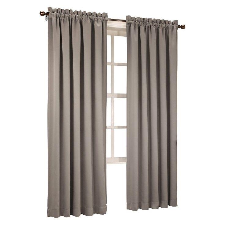 "Seymour Room Darkening Pole Top Curtain Panel Stone (Grey) (54""x95"") Sun Zero"