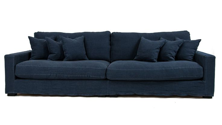 Blå Valen XL linnesoffa. Soffa, linne, avtagbar klädsel, låg, djup, rymlig, vardagsrum, möbler, inredning.