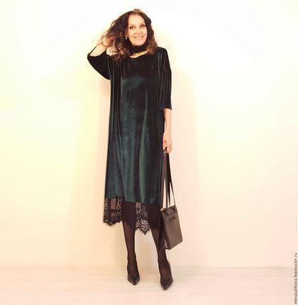 Платья ручной работы. Ярмарка Мастеров - ручная работа. Купить Платье-туника из бархата с гипюром миди. Handmade. Комбинированный
