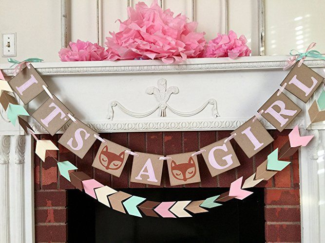 Amazon.com: Woodland fox baby shower decorations - Tribal baby shower - It's a Girl banner- Fox baby shower decorations , Pink and Mint Baby shower Decorations, Its a Girl Baby shower: Handmade