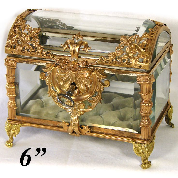 "Gorgeous Antique Baccarat Gilt Ormolu & Thick Beveled Glass 6"" Jewelry Casket, Box"
