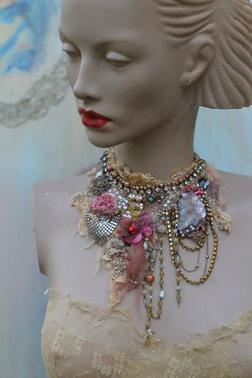 Mirabilia necklace delicate shabby chic by FleursBoheme on Etsy