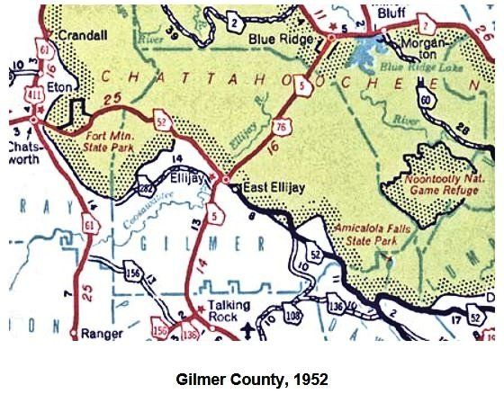 Map Of Georgia Ellijay.1952 Gilmer County Georgia Map This Map Shows Georgia Hwy 5