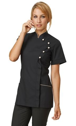 Chef jacket for women kelly by siggi beuty s black for Spa uniforms johannesburg