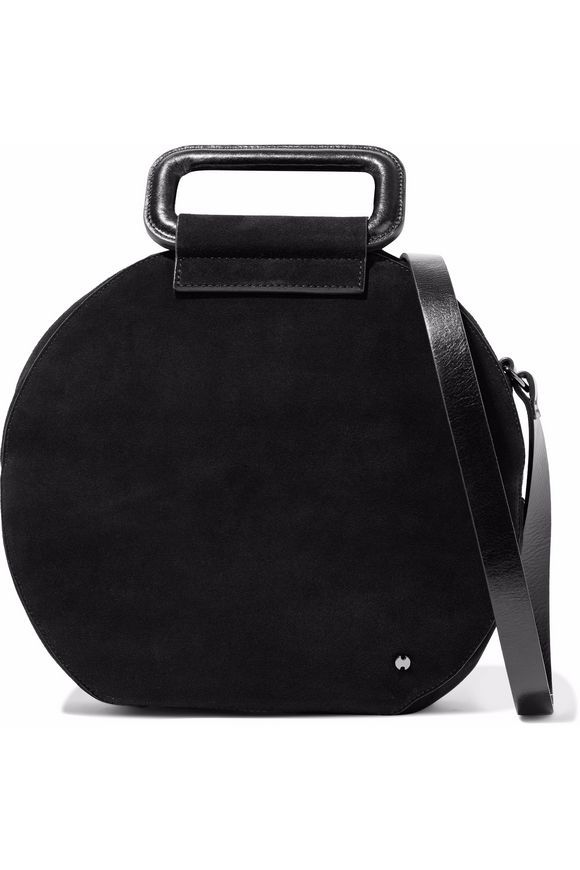 deeeea3c0c Glossed leather-trimmed suede shoulder bag