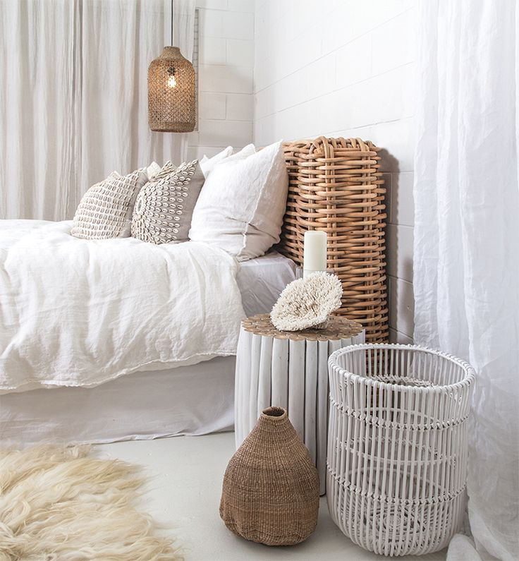 Uniqwa Furniture | Zulu Bed Head, Takke Side Table, Taba Basket & Lili Pendant Light. Photography: Uniqwa Furniture