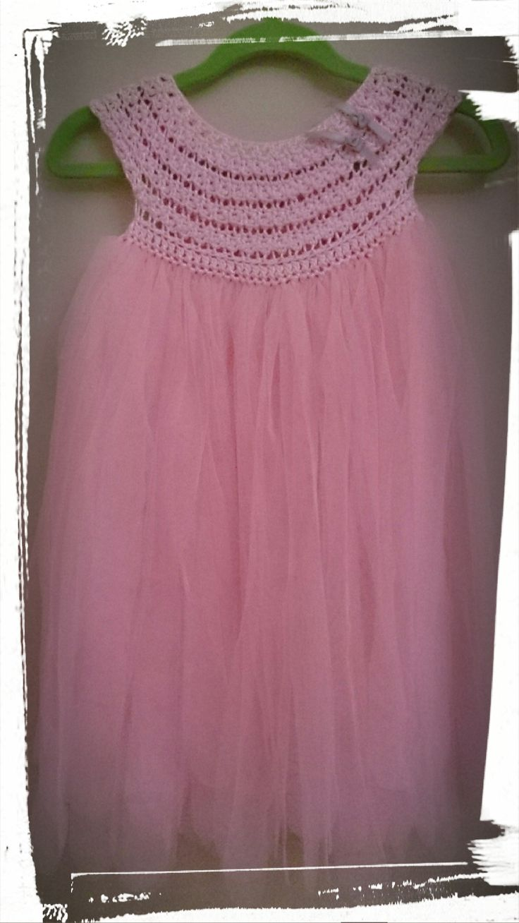 Beautifully handmade crochet yarn and voile little girl dresses for special occasions