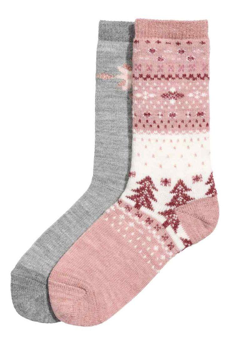 2雙入襪子 - 白色/蜜粉紅色 - Ladies | H&M NT$ 399  柔軟針織襪,含羊毛和閃亮織線。