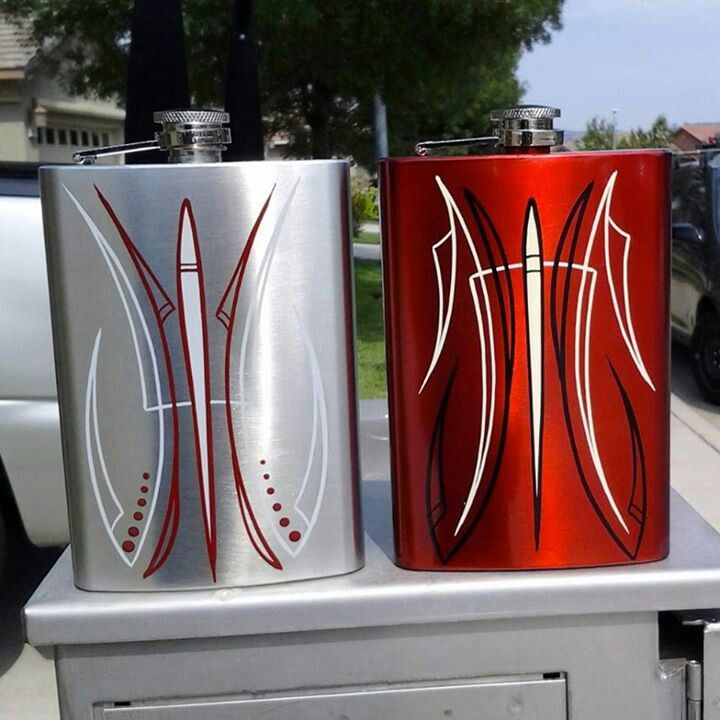 """Pinstriped flasks by Ray""""the vulture""""Peoro"""