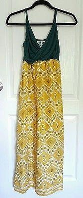 Edme & esyllte anthropologie yellow green boho maxi silk dress sz 0
