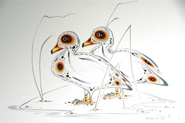 Canards par Eddy Cobiness - Woodlands Art Original - Bouilloire rouge Art et objets de collection