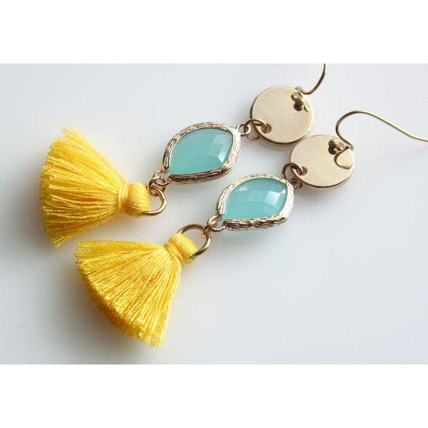 Long Dangle Earrings, Long Earrings, Multi Element Earrings, Tassel... ($26) ❤ liked on Polyvore featuring jewelry, earrings, mint earrings, facet jewelry, polish jewelry, disc earrings and tassel jewelry