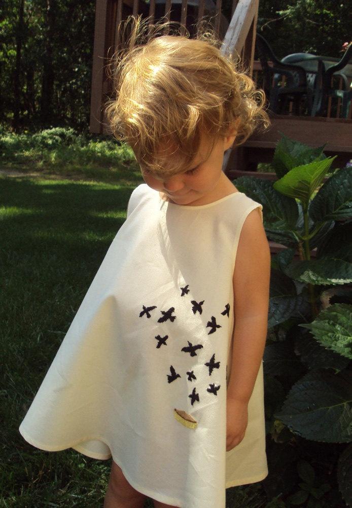 Hand embroidered Black Bird in the Pie dress