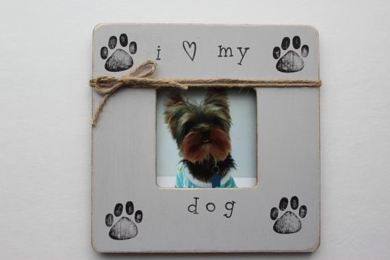 Dog Photo Frame I Love My Dog Frame Rustic by MyRusticPlace