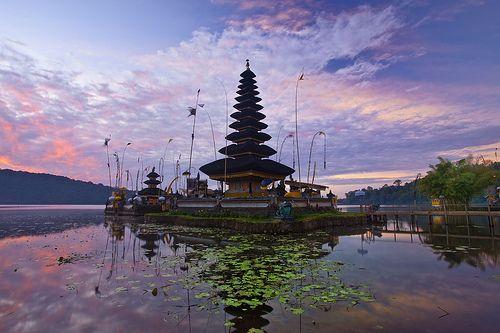 Pura Ulun Danu Bratan, or Pura Bratan, is a major water temple on Bali, Indonesia — the other major water temple being Pura Ulun Danu Batur. The temple complex is located on the shores of Danau Bratan (Lake Bratan) in the mountains near Bedugul.