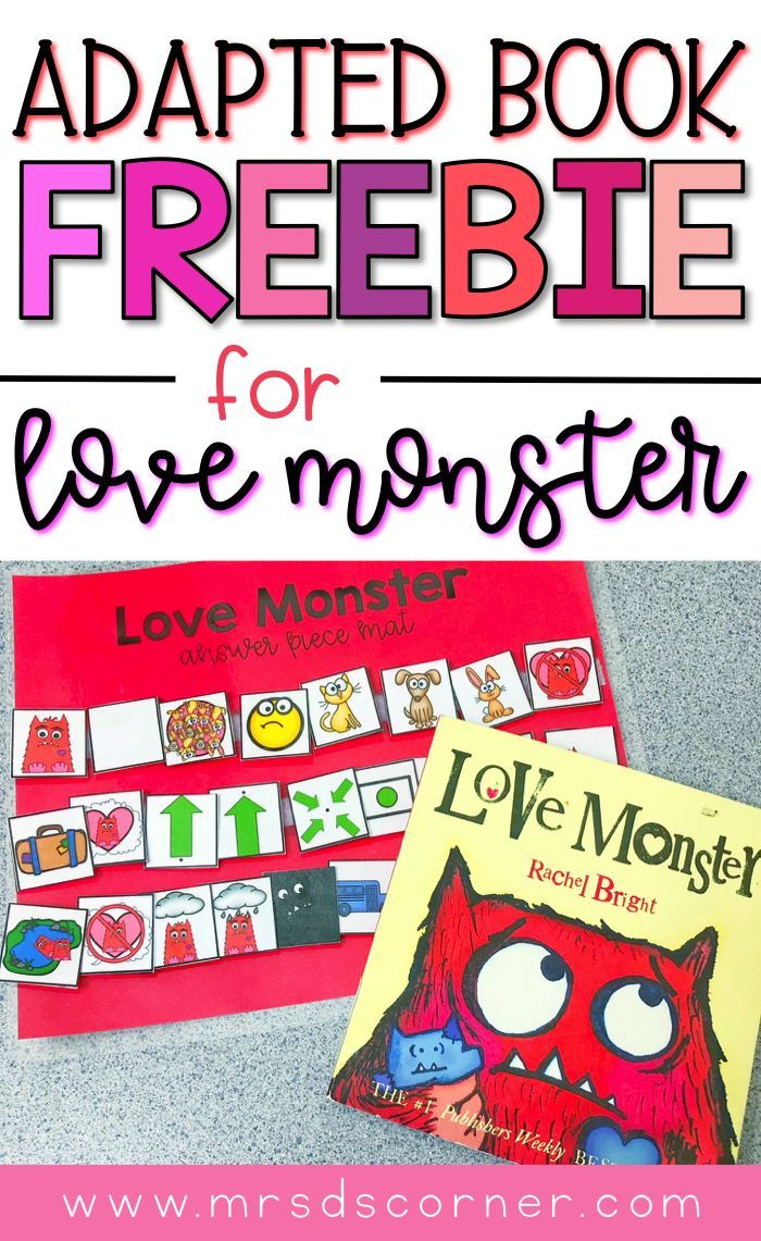 Free Adapted Piece Book Set For The Children S Book Love Monster This Adapted Book Set Freebie Includes Visuals Adapted Books Love Monster Valentines Day Book