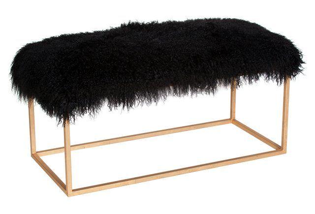 Block Sheepskin Bench, Black/Gold