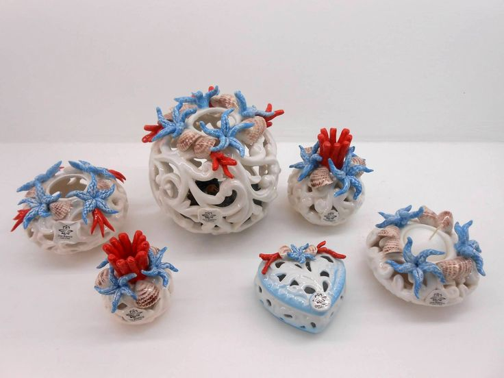 Favors for Wedding with perforated porcelain decoration marine theme