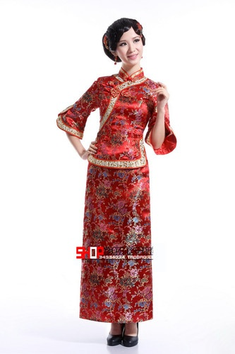 Cocktail/Wedding Dress Embroidery Bride Cheongsam Chinese Style with 3/4 Notched Sleeve