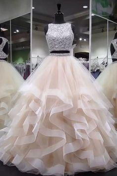 Champagne round neck tulle long prom dress, ball gown