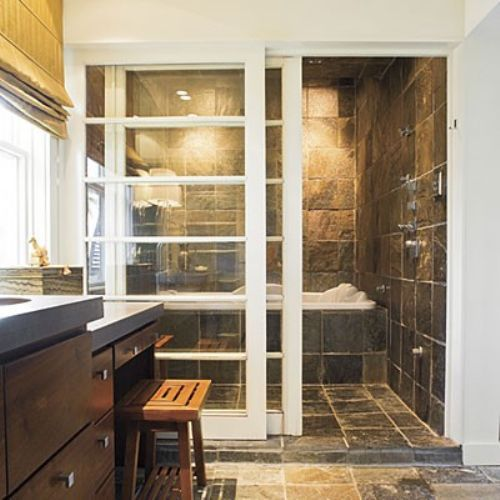 love the idea of a sliding door and then having the shower and whirlpool bath side by side