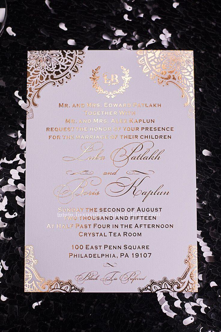 Gold Foil Wedding Invitations With Foil Envelopes