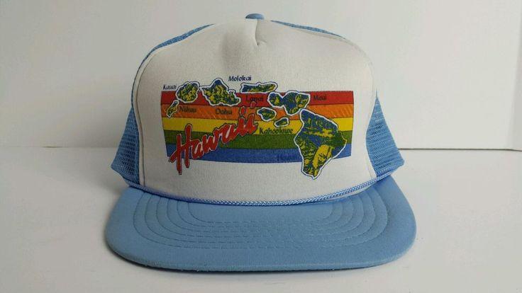 Vintage Trucker Cap Hawaii Blue Hat Rainbow Mesh Snapback Adjustable Retro Cool #Cap