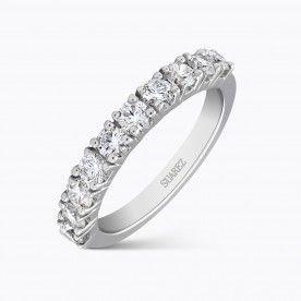 Alianza media de oro blanco con diamantes talla brillante en garras - Solitarios y Alianzas