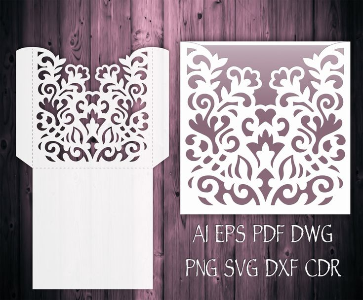 Wedding Invitation Pocket Envelope template 5x7 & 5x5, Cricut, Silhouette cameo, EPS, SVG, CDR, DXF, DWG, AI, PLT, PNG, PDF Laser cut mockup.  You can resize card size as you wish in your cutting software without loosing detail.  This custom laser cut invitation pocket envelope template for cutting plotter was created using my original hand drawn design. Perfect for Wedding, Quinceaneras, Birthdays, Christening, Cardmaking etc. ----YOU WILL RECEIVE----  1 ZIP file- 10 file formats  ♥ EPS,...