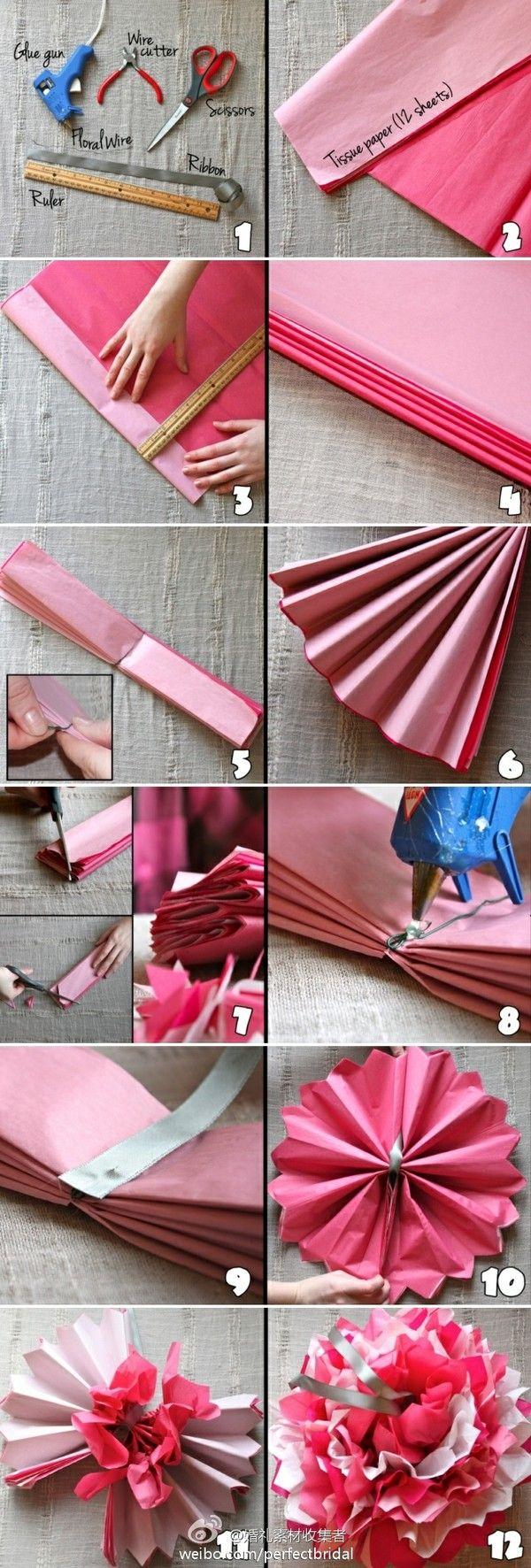 die besten 25 seidenpapier blumen ideen auf pinterest papier pompons taschentuch poms und. Black Bedroom Furniture Sets. Home Design Ideas