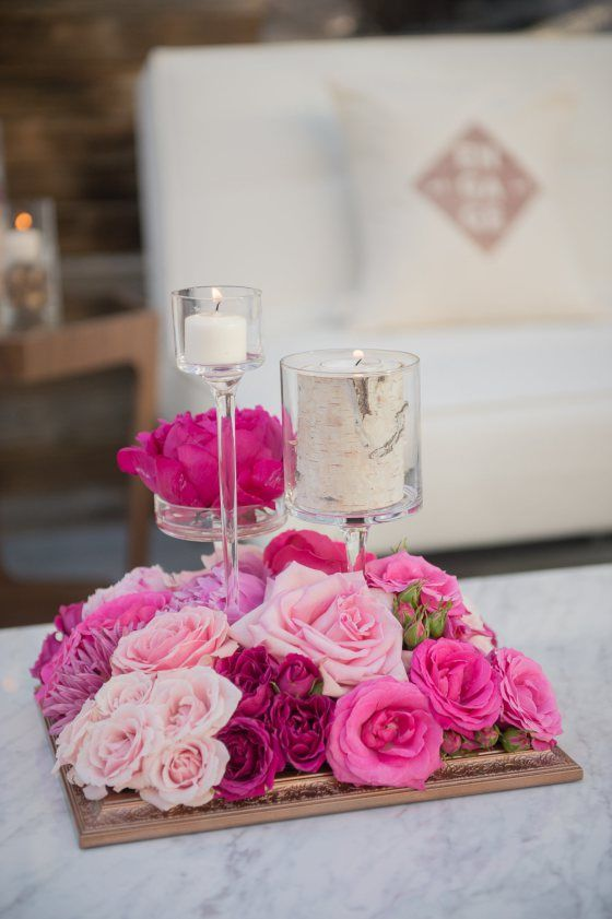 Rose and Aspen candle arrangement on gold frame   Engage14 Welcome Party   Venue: Beaver Creek Resort, Beaver Creek, Colorado   Photography:  Carla Ten Eyck, John Cain Sargent, Tammy Swales, Sofia Negron, Laura DeCarlo   Florals-Bloom Flower Shop    Planning and Design - Bella Design & Planning www.gobella.com