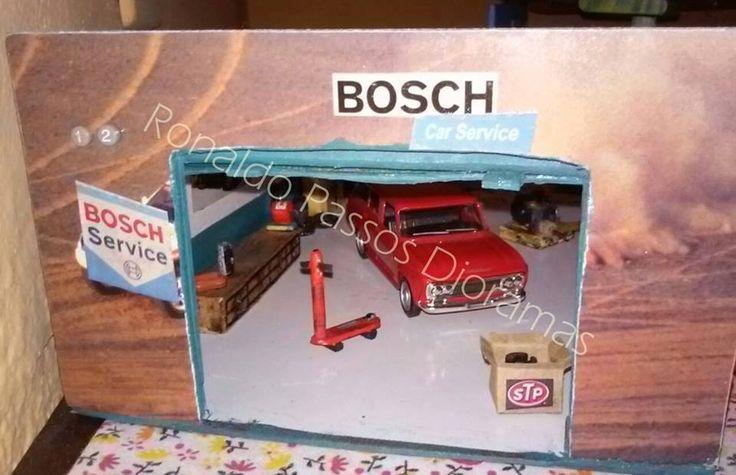 Diorama de Oficina Bosch com Chevrolet Veraneio 1970 - escala 1/39