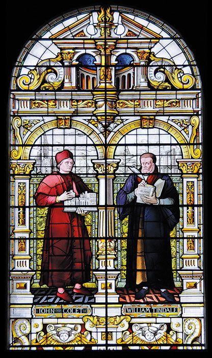 William Tyndale (on the right) is featured in this window in the Emmanuel College chapel, Cambridge.