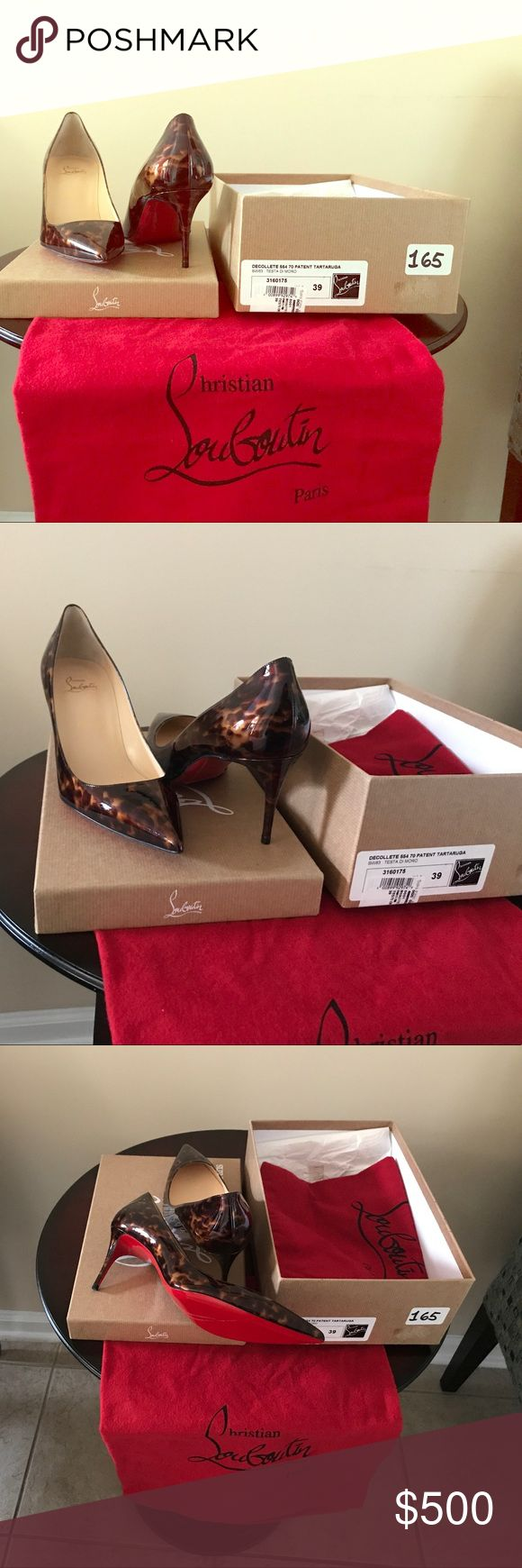 Christian Louboutin Decolette 70 Patent Tartaruga Brand New Christian Louboutin Decolette 554 70 Patent Tartaruga  Size 39 Sole protector on the bottoms Christian Louboutin Shoes Heels