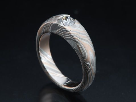 Popular Unique Mokume Gane Engagement and Wedding Rings from Designer James Binnion Mokume Gane wedding rings engagement rings and mitment rings by James