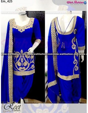 Give yourself a stylish & designer look with this Exquisite Royal Blue Embroidered Punjabi Suit. Embellished with Embroidery work and lace work. Available with matching bottom & dupatta. It will make you noticable in special gathering. You can design this suit in any color combination or on any fabric. Just whatsapp us for more details. For more details whatsapp us: +919915178418